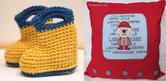Crocheted baby rainboots,recycled t-shirt pillow