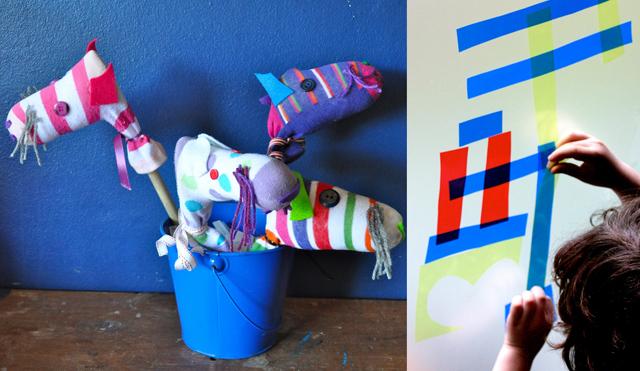 Sock hobby horses,contact paper art