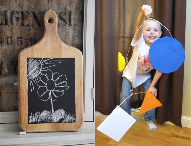 Cutting board chalkboard,kid's calder mobile craft