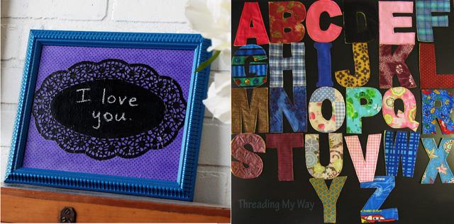 Chalkboard doily, fabric letters