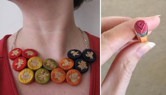 Embroidered cork necklace,pencil eraser stamps