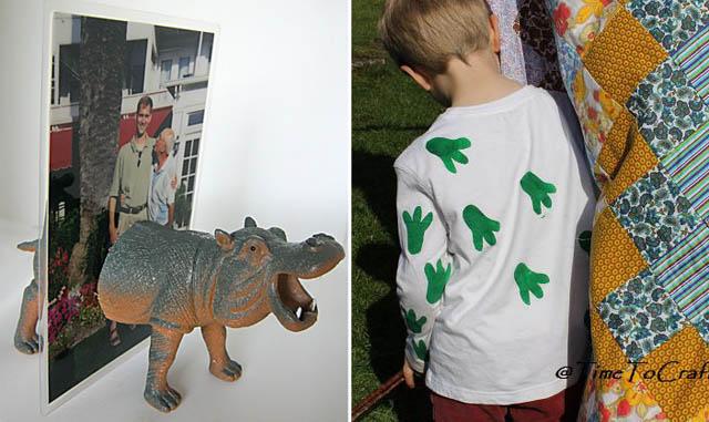 Rhino magnetic photo frame,animal feet print shirt