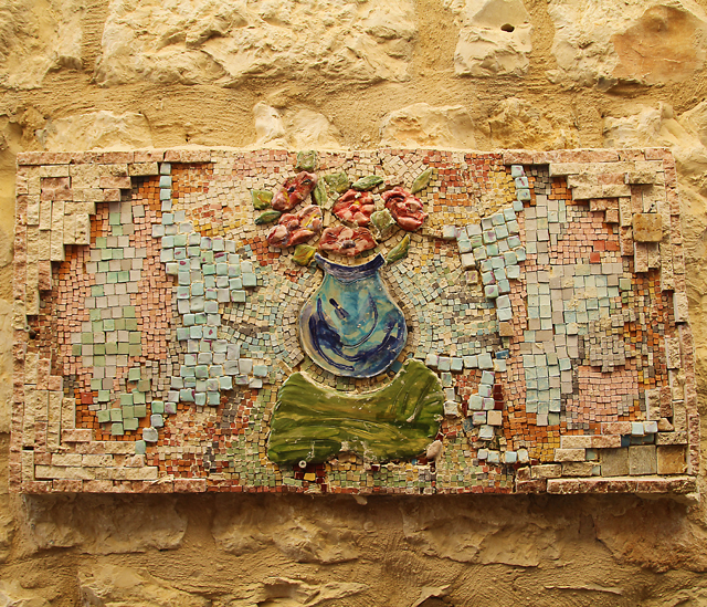 Garden Mosaic Collage With Ceramic Pieces
