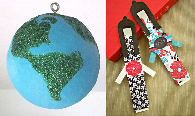 Paper mache earth,japanese doll book marks