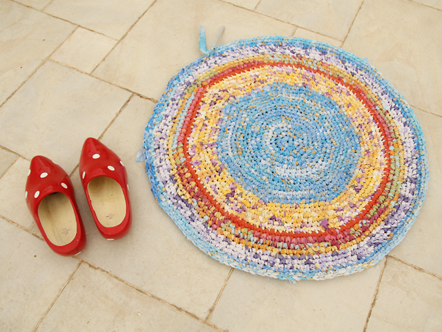 Crocheted Rag Rug With Dutch Shoes