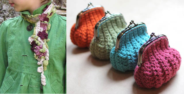 Crocheted spring lariat,crocheted coin purse