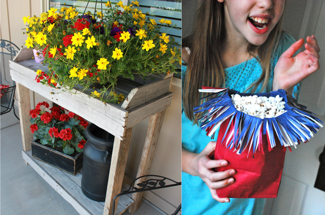Palette garden table,popcorn bag