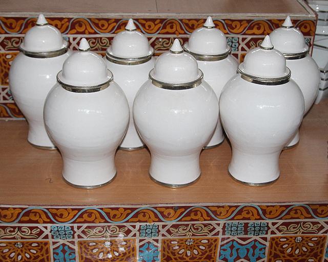 Moroccan Pottery White Jars