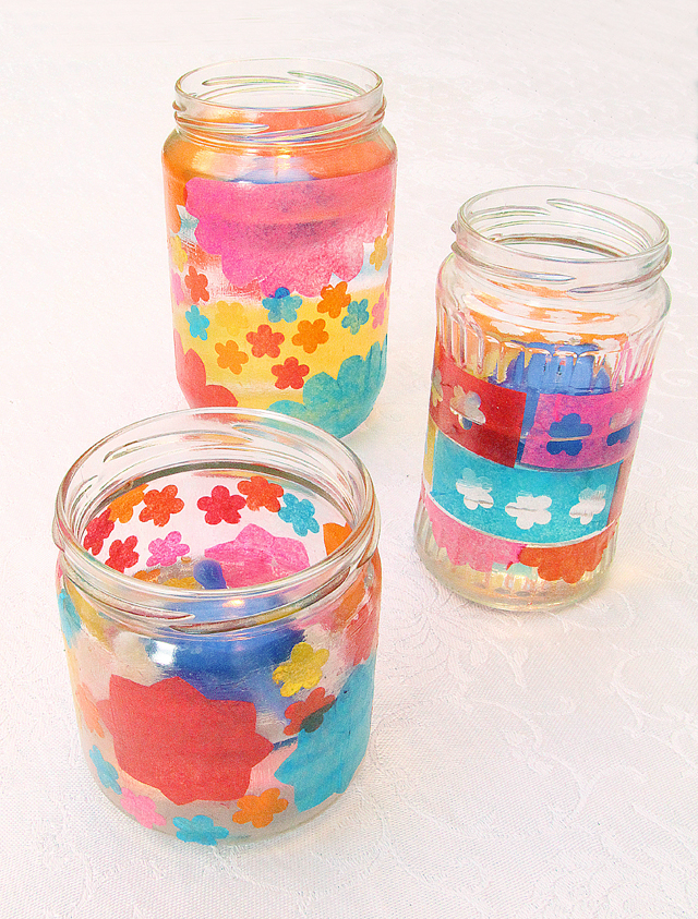 Decoupage Tissue Paper Candle Jars