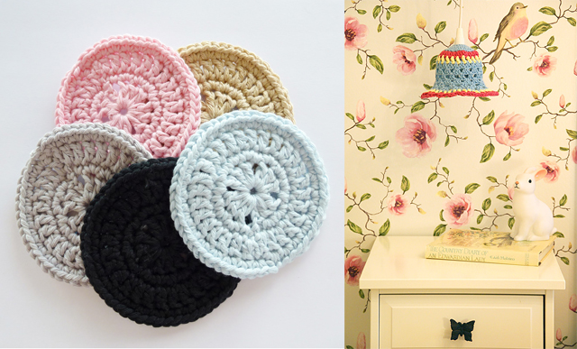 Crocheted coasters and lampshade