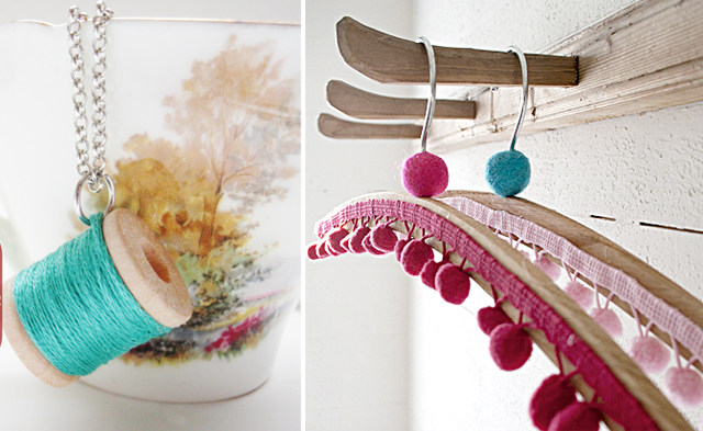 Spool necklace, decorated hangers