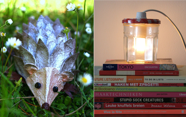 Egg carton hedge hog,light in a jar