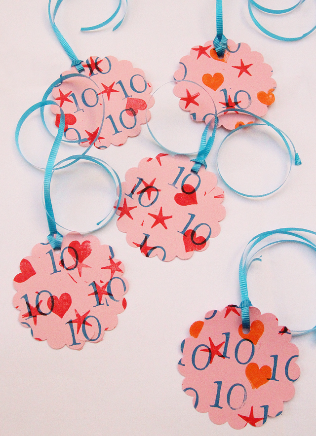 Stamped Birthday Favor Tags