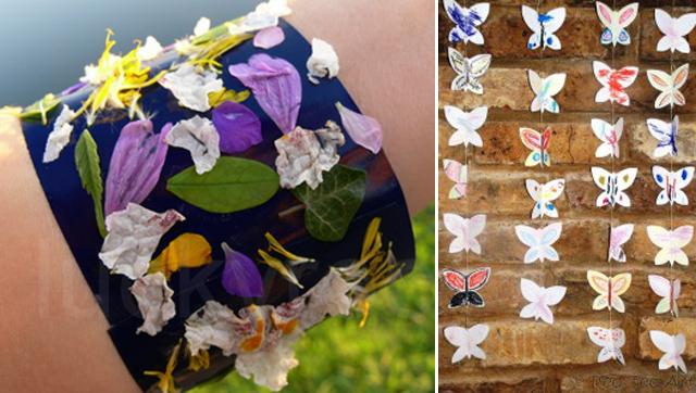 Nature walk bracelet, butterfly banners