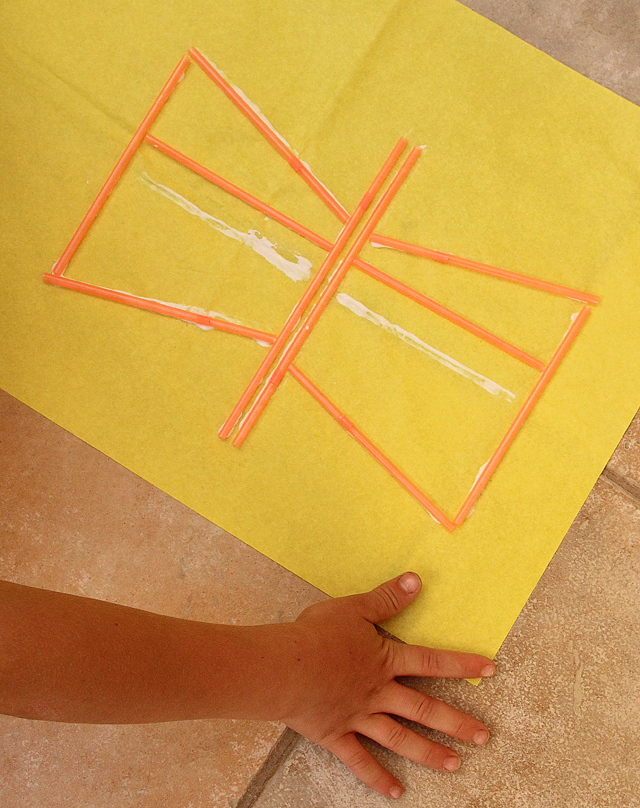 Kite making with straws butterfly
