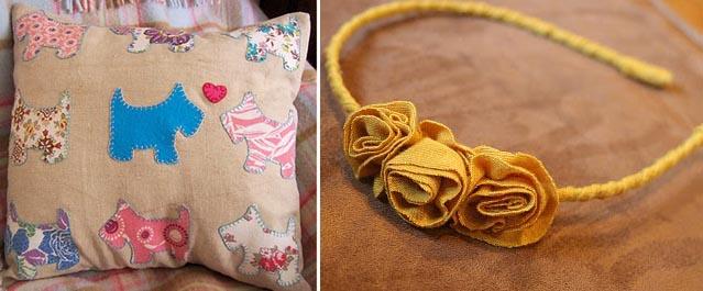 Scottie pillow,flower headband
