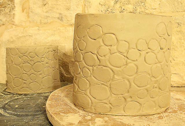 Textured Clay handbuilt pots