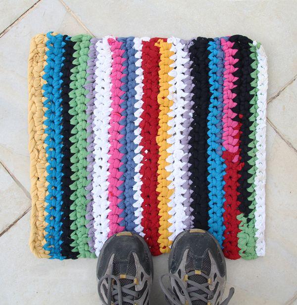 Crocheted T Shirt Yarn Rug Creative