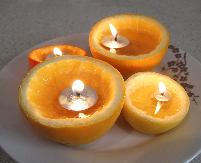 Candles From Real Oranges, Lemons,Tangerine