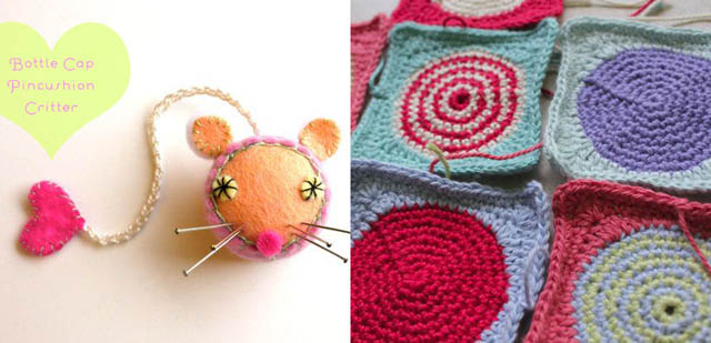 Bottle cap pin cushion, crochted square with circle in middle