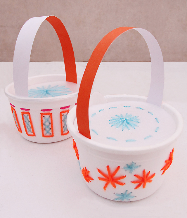 Embroidered Styrofoam Bowl Spring Baskets