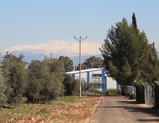 Galil Hermon Snow Covered with farm