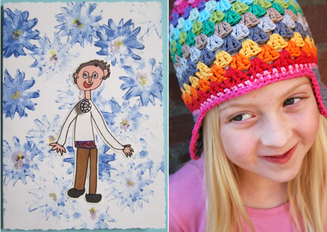 Crocheted Granny hat, estonian independence card
