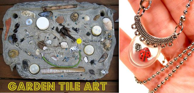 Garden tile art, pacifier necklace