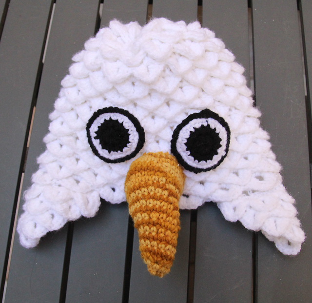 Crocheted crocodile stitch eagle hat