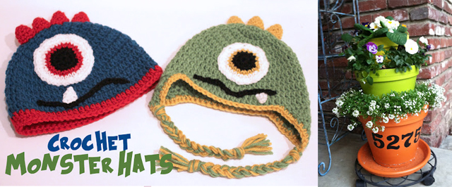 Crochet monster hats,stacked flower pots