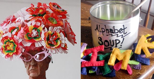 Layered flowers,felt alphabet soup