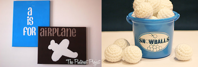 Crocheted snow balls,boy's room canvases