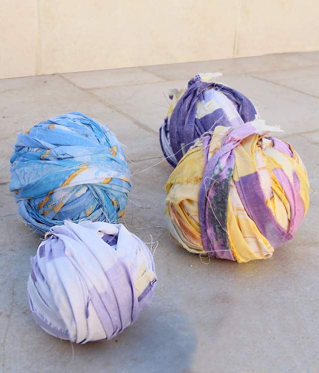 Yarn From sheets, how to make,rag balls