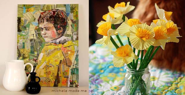 Junk mail portrait,daffodil paper flowers
