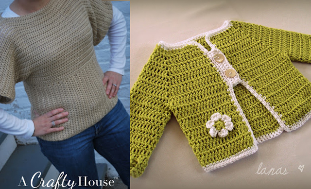 Crocheted dolman sweater,top down crocheted baby sweater