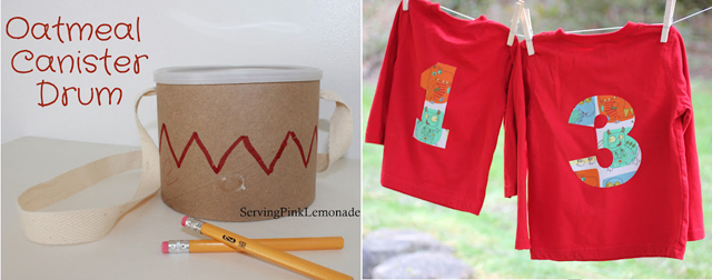 Oatmeal cannister drum,no sew number shirts