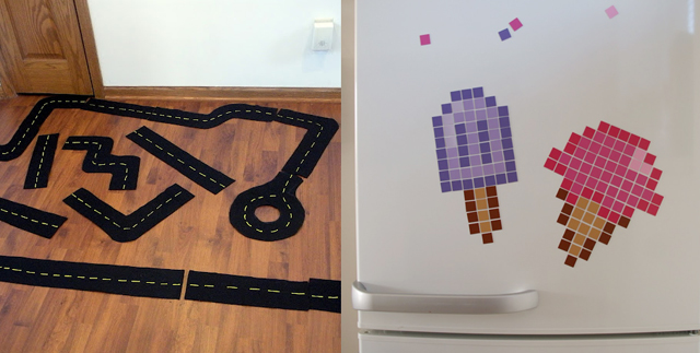 Felt road,pixel magnet art