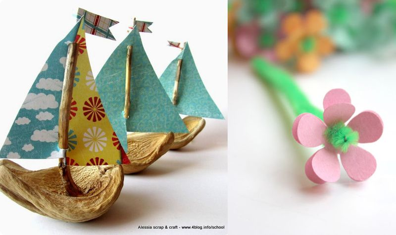 Husk boats,tiny paper flowers