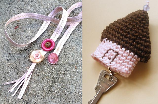Lariat bracelet,crocheted house keychain