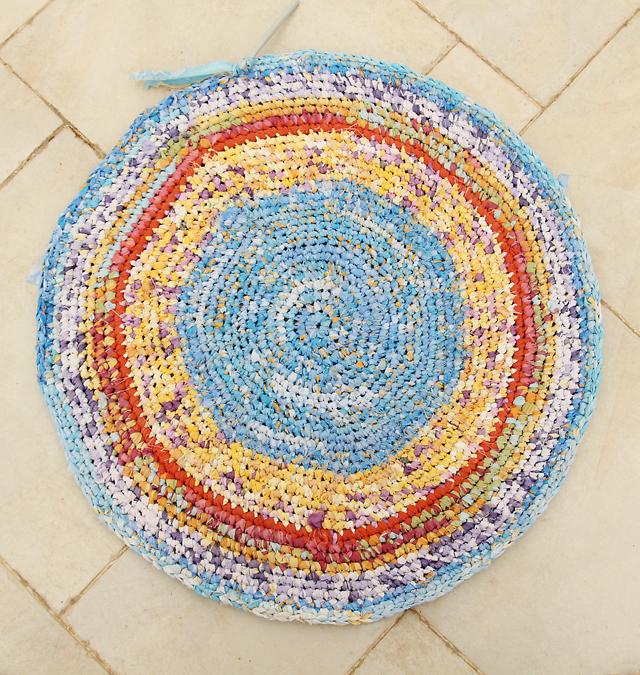 Crocheted Rag Rug In Progress
