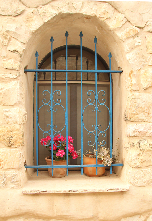 Geraniums in arched stone window
