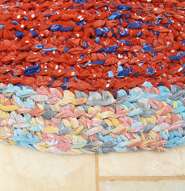 Crocheted Oval Rag Rug close up
