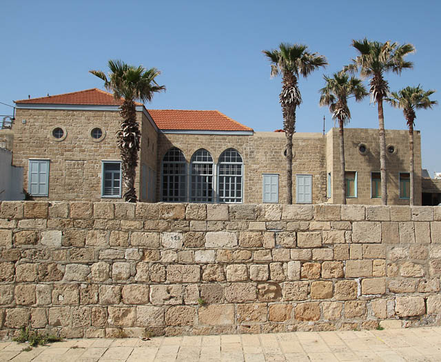 Akko Old Building with palm trees
