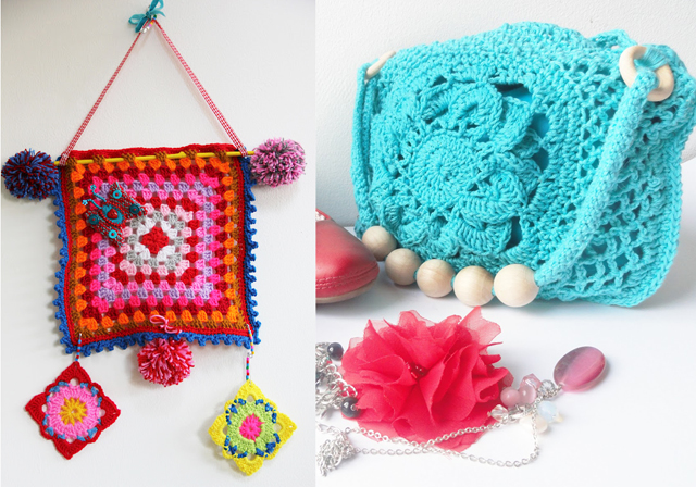 Crocheted granny wall hanging,crocheted purse