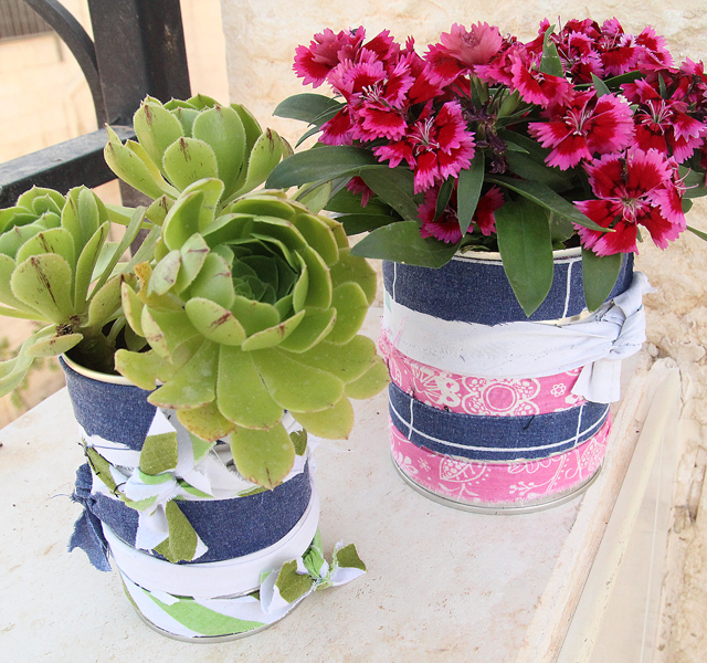 Recycled Tin Can and Rags Planters