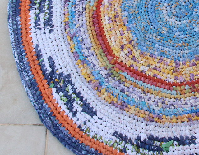 Crocheted Rag Rug From Sheets Completed