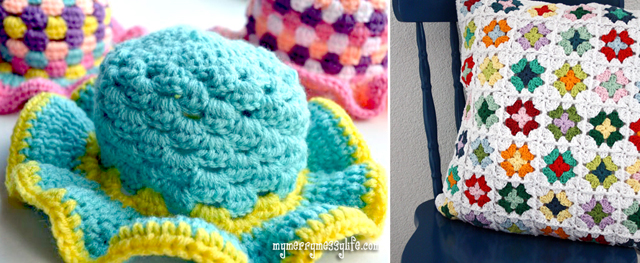 Crocheted granny hat and pillow