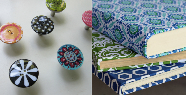 Button knobs, fabric covered books