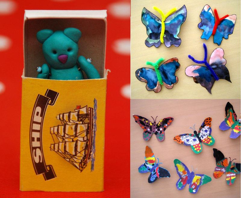 Fimo teddy-matchbox,holocaust butterfly project