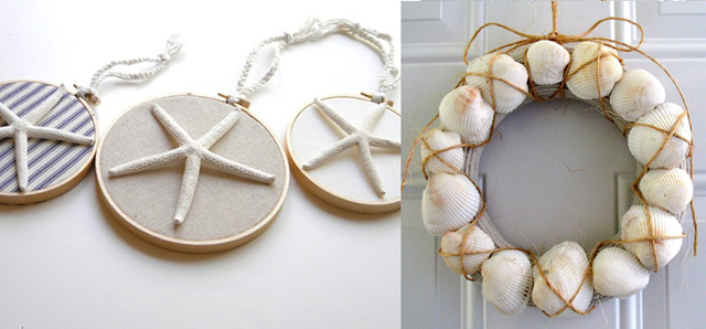 Star fish art,clam shell wreath